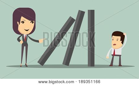 domino effect and problem solving. Stock vector illustration for poster, greeting card, website, ad, business presentation, advertisement design.