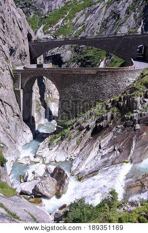 Devil's Bridge At St. Gotthard Pass On The Swiss Alps