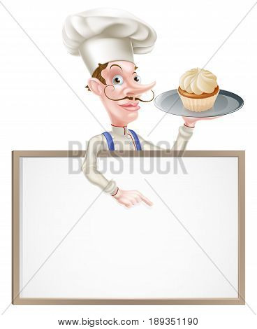 An illustration of a cartoon chef or baker holding a tray with a cake on it  and pointing at a signboard