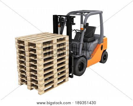 Forklift Loader With Pallets Without Shadow On White 3D