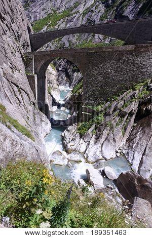Devil's Bridge At St. Gotthard Pass