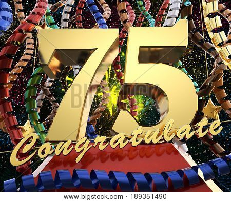 Gold number seventy five with the word congratulate. 3D illustration