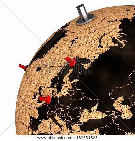 Desktop Globe With Pins On The Map View On Europe 3D