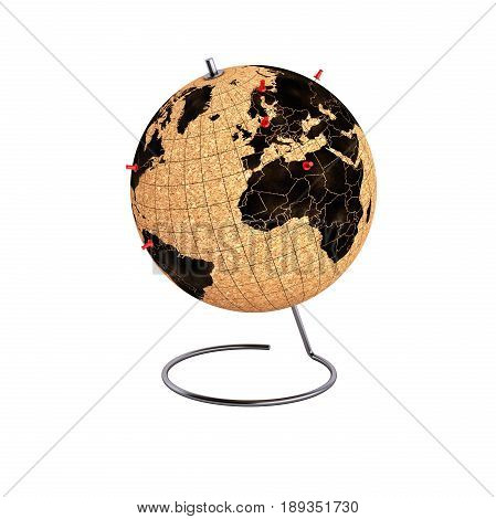 Desktop Globe With Pins Withput Shadow On The Map 3D