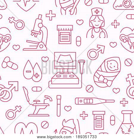Medical seamless pattern, gynecology vector background pink color. Obstetrics, pregnancy line icons - baby ultrasound, gynecological chair, in vitro fertilization. Cute repeated illustration hospital.