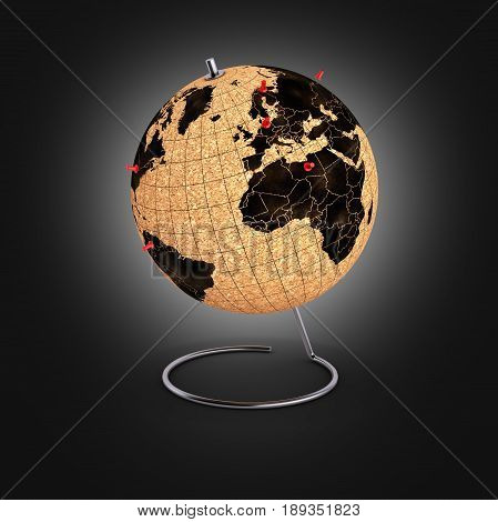 Desktop Globe With Pins On The Map On Black Gradient Background 3D