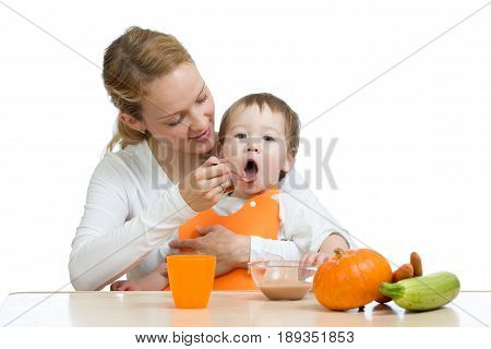 Mom feeding her kid boy with a spoon. Mother giving food to her little child. Healthy baby food and nutrition.