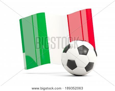 Football With Waving Flag Of Italy Isolated On White