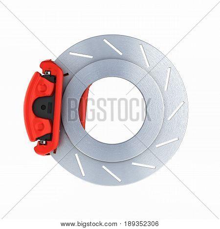 Automobile Braking System.car Part Steel Brake Disk On White 3D.