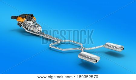 Exhaust Pipes System With Engine On Blue Background 3D Illustration