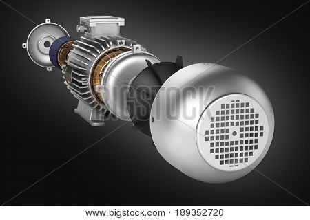Electric Motor In Detail On Black Gradient Background 3D