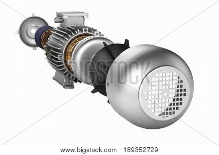 Electric Motor In Detail Witout Shadow On White Background 3D