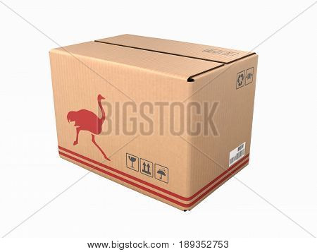 Cardboard Box Without Shadow Isolated On White Background 3D
