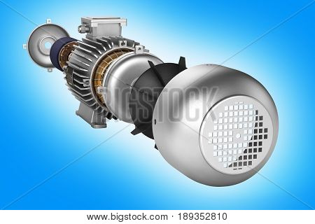 Electric Motor In Detail On Blue Gradient Background 3D