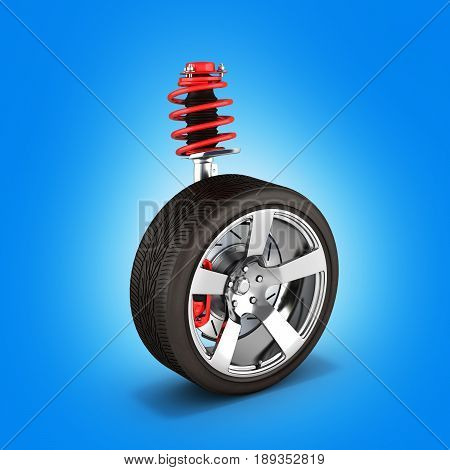 Suspension Of The Car With Wheel Perspective View On Blue Background 3D