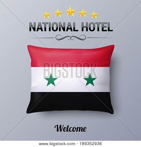 Realistic Pillow and Flag of Syria as Symbol National Hotel. Flag Pillow Cover with Syrian flag