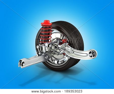 Suspension Of The Car With Wheel On Blue Background 3D