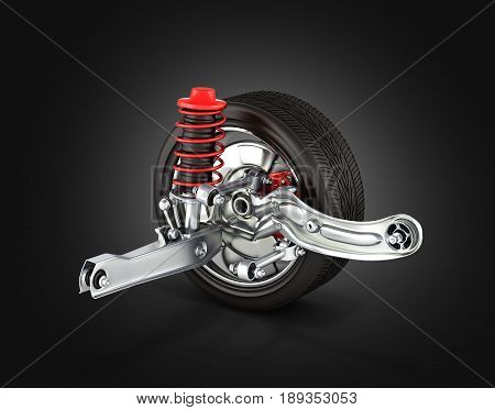 Suspension Of The Car With Wheel On Black Background 3D