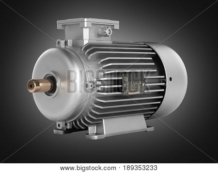 Electric Motor On Black Gradient Background 3D