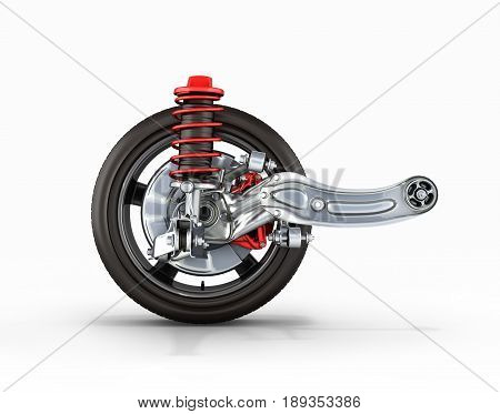 Suspension Of The Car With Wheel Side View On White Background 3D