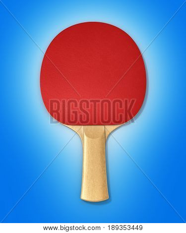 Ping-pong Racket On Blue Gradient Background 3D