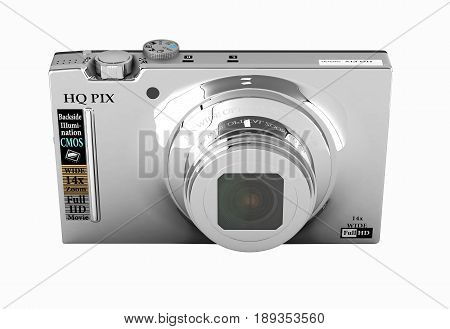 Digital Photo Camera Without Shadow On White Background 3D Render