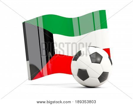 Football With Waving Flag Of Kuwait Isolated On White