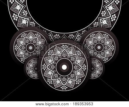 Embroidery folk motive necklace for blouse in elegant romantic style, unique ethnic jewelry. Vector flat style illustration isolated on black background