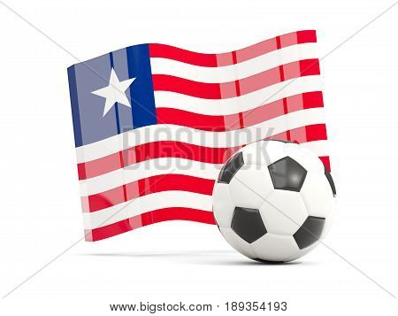 Football With Waving Flag Of Liberia Isolated On White