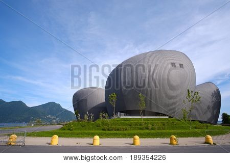 Verbania, Italy, 23 May 2017 - big modern theater and auditorium building called Teatro Il Maggiore (Maggiore theatre) in Verbania on Lake Maggiore, Piedmont region, Italy