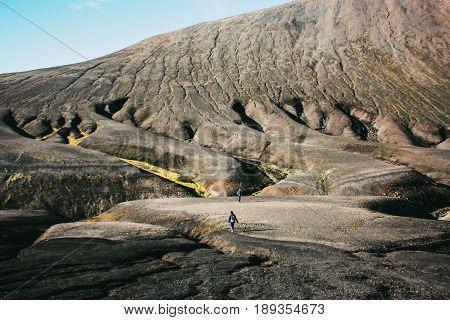 Hiking in Landmannalaugar, mountain landscape in Iceland