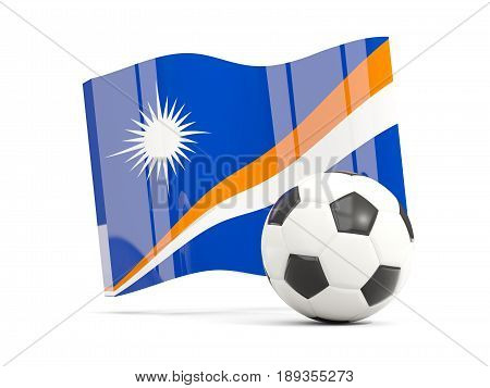 Football With Waving Flag Of Marshall Islands Isolated On White