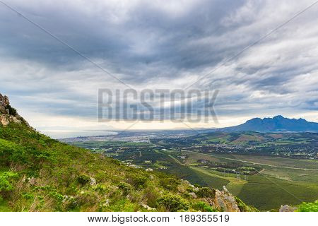 Aerial View Of Cape Town From Sir Lowry's Pass, South Africa. Winter Season, Cloudy And Dramatic Sky