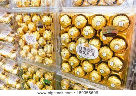 Kuala Lumpur, Malaysia, June 3, 2017: Ferrero Rocher Is A Spherical Chocolate Produced By The Italia