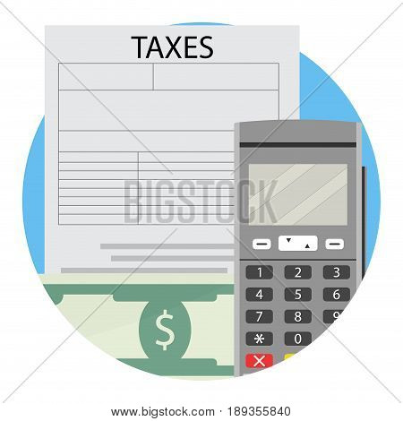 Payment of financial taxes icon. Financial services vector illustration