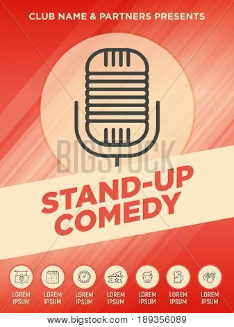 Stand up comedy show poster with thin line microphone icon. Vector illustration.