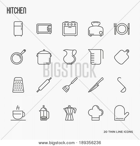 Kitchen equipment and tableware thin line icons set. Vector illustration for cooking recipes, menu, shop, web site, app.