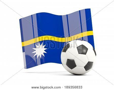 Football With Waving Flag Of Nauru Isolated On White