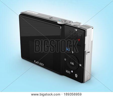Digital Photo Camera On Blue Gradient Background 3D Render