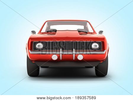 Muscle Car Front View On Blue Gradient Background 3D