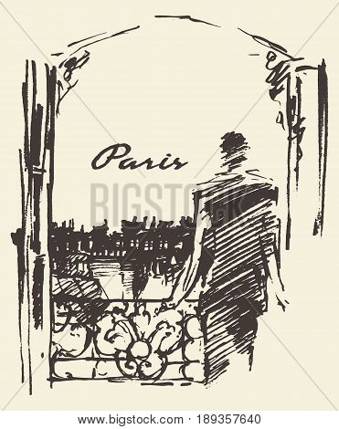 Man looking to the Paris skyline through the window, vector illustration, sketch