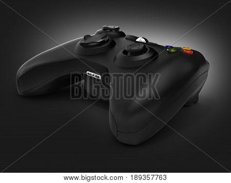 Black Gamepad On Black Gradient Background 3D