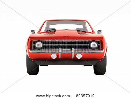 Muscle Car Front View Without Shadow On White Background 3D