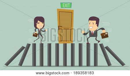 domino effect and problem solving . businessman Against another another businessman . Business competition concept.