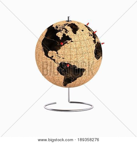 Desktop Globe With Pins On The Map Without Shadow 3D