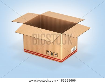 Open Cardboard Box On Blue Gradient Background 3D