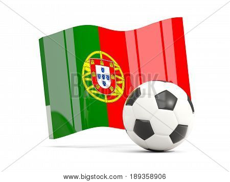 Football With Waving Flag Of Portugal Isolated On White