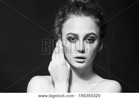 Vogue Style. Glamour Lady. Fashion Beauty Girl. Gorgeous Woman Portrait. Black and white Photo