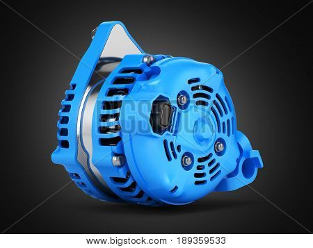 Car Alternator On Black Gradient Background 3D