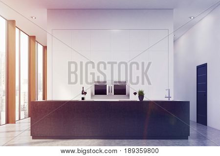 Front view of a modern kitchen interior with a black bar stand and two ovens built in a blank white wall. 3d rendering mock up toned image